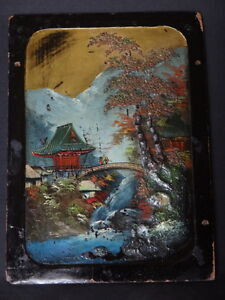 Ancien-panneau-peinture-chine-pagode-Old-panel-chinese-painting-mountains-XIX