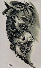 Temporary Tattoo Fake Tattoo Dämon&Scull 18,5x10,5cm Medium wasserfest F-066