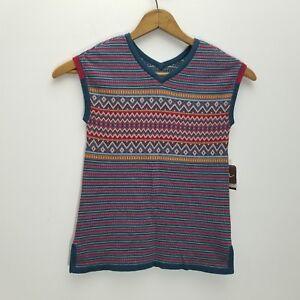 Tea-Collection-Girls-Sweater-Vest-6-Pima-Cotton-Red-White-Blue-Knit-Split-Side