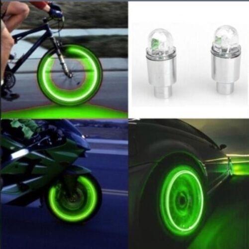 2× LED Tire Valve Stem Caps Neon Light Auto Accessories Bike Car Auto Bicycle AW