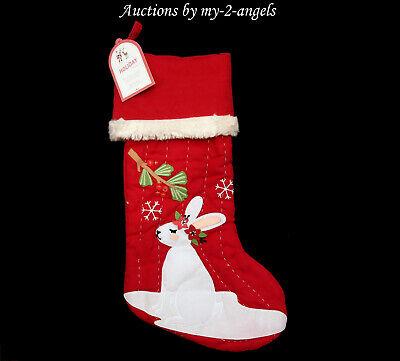 Nwt Pottery Barn Kids Bunny Christmas Woodland Stocking Red No Name No Mono Girl Ebay