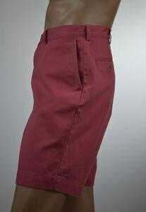 Ralph-Lauren-Men-Rose-Red-Denim-Flat-Front-Shorts-Navy-Pony-Size-36-NWT