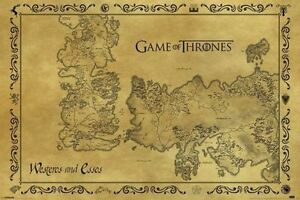Game of thrones antique map poster world vintage old print wall image is loading game of thrones antique map poster world vintage gumiabroncs Choice Image