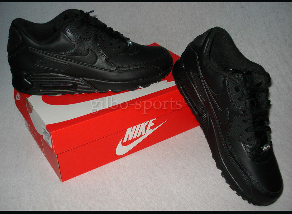 Nike Air Max 90 Leather  Triple Black Gr. 40  Leather Neu 302519 001 arimax 1 qs b403b2