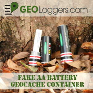 NEW-Fake-AA-Battery-Geocache-Cache-Container-3-Free-Cache-Logs