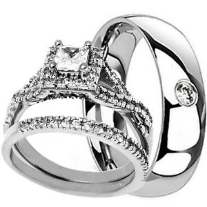 His-Hers-3PCS-Mens-Womens-STERLING-SILVER-amp-TITANIUM-Wedding-Engagement-Ring-Set