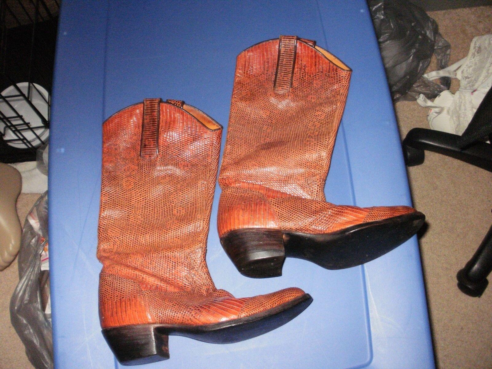 Der Dau 6.5 Damas botas Completo Completo Completo Personalizado Lagarto Vintage occidental rojizo Usa 20a5a6