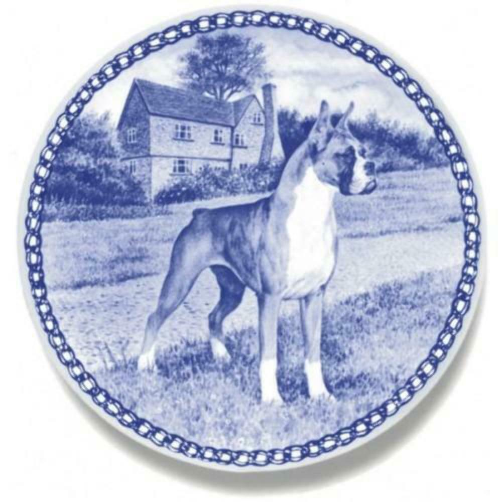 Boxer  Dog Plate made in Denmark from the finest European Porcelain