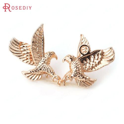 6PCS 11x17MM Quality Gold Color Brass Eagle Pendants Jewelry Findings 30803