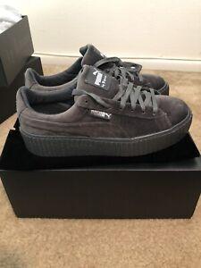 Details about Puma Womens Fenty by Rihanna Riri Gray Creeper Velvet Shoes Size 8.5