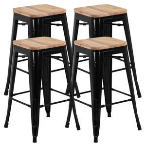 Image Is Loading Set Of 4 Black Vintage Bar Stool