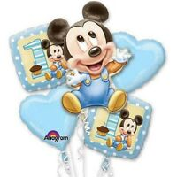 Disney Mickey Mouse 1st Birthday Mylar Balloon Bouquet Party Favor Supply