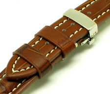 22mm Brown Quality Leather Contrast Stitch Croco Watch Strap Butterfly Clasp