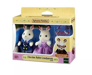 Calico-Critters-Sylvanian-Families-Chocolate-Rabbit-Grandparents-BNIB-Item-5190