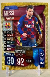 2019-20 Topps LIONEL MESSI Match Attax Record Holders GOLD ICE SP Soccer Card 🔥