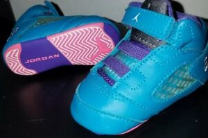 pretty nice 357e4 70ea1 Details about Girls Nike Air Jordan 5 Retro Toddler Baby Teal Pink Infant  Crib Size 2c 2 Shoes