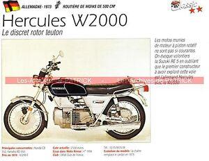 Hercules W2000 ( W 2000 ) Moteur Wankel 1973 Fiche Moto 000178 P33jtvoo-07221417-568038307