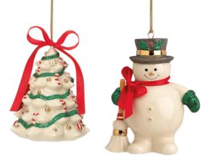 Lenox Holiday Ribbons Ornament Set of 2 Snowman Christmas ...