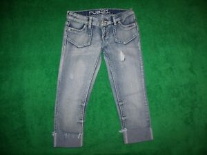 555717be17e Junior's Rue 21 Skinny Cropped Blue Distressed Jeans Cotton Blend ...