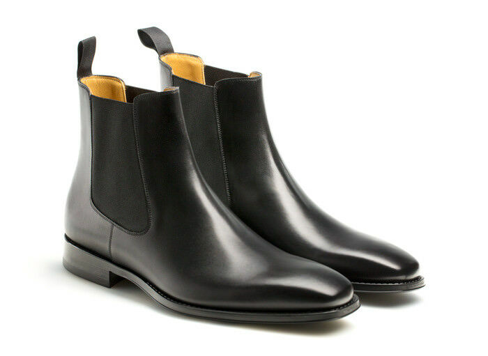 Hecho a mano para hombre Negro Chelsea botas, botas de cuero para hombre, tobillo botas de cuero para hombre