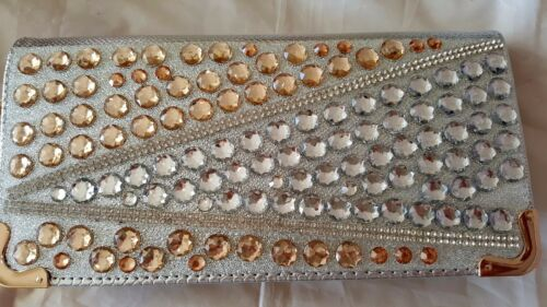 Silver /& Gold color Sparkly round acrylic stones Design High Quality Purse
