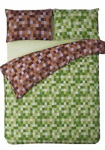 Pixel squares bedding set duvet cover pillowcases modern check green brown ebay - Green pixel bedding ...