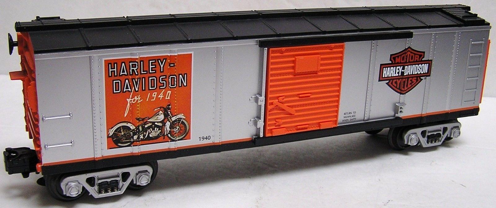MTH bey Lionel Spur 0  3-Leiter Wechselstrom Harley - Davidson Box Car neuwertig  | In hohem Grade geschätzt und weit vertrautes herein und heraus