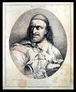 SHYLOCK-1776-John-Hamilton-Mortimer-William-Shakespeare-ANTIQUE-ETCHING