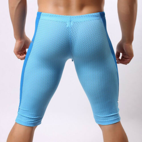Bodybuilding Mens Fitness Mesh Breathable Pants Quick Dry Tight Shorts Trousers