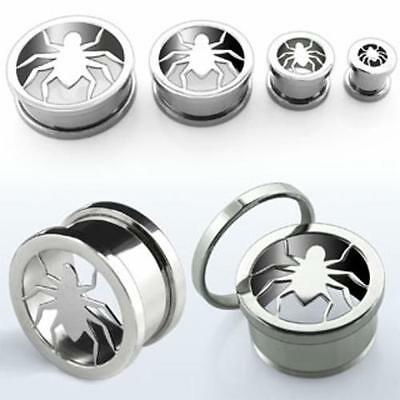 """Pair Goth Punk Metal High Polished Screw Fit Flesh Tunnel Hollow Spider 0g-5/8"""""""