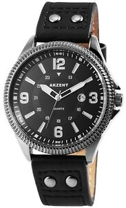 Herrenuhr-Schwarz-Analog-Metall-Leder-Datum-Armbanduhr-Quarz-D-60463614374750