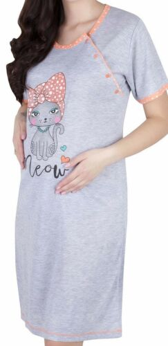 Woman nursing maternity nightdress nightwear two sides buttons short sleeve M100