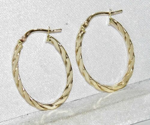 9CT YELLOW GOLD LADIES TWISTED OVAL CREOLE HOOP EARRINGS