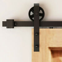 Big Vintage Strap Industrial Wheel Sliding Barn Door Hardware Kit 5-12ft