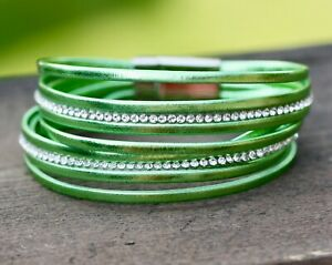 Metallic Green Bracelet with Magnetic Silver Clasp
