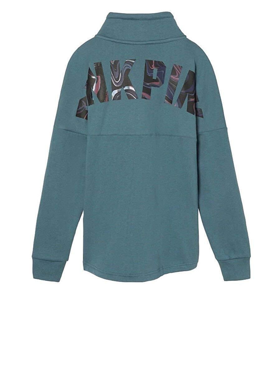 Victoria's Secret Pink Varsity Quarter Zip Cowl Sweatshirt Status bluee Medium