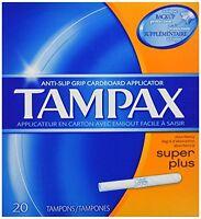 3 Pack - Tampax Cardboard Applicator, Super Plus Absorbency Tampons, 20 Each on sale