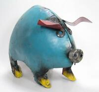 Recycled Metal Blue Pig Yard Garden Art Rustic Country Style Handcrafted Piggy