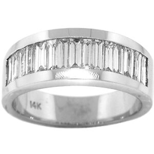 6f996caa2e712 Details about 1.75ct MENS BAGUETTE DIAMOND RING 14K WHITE GOLD