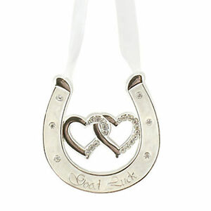 Wedding-Silver-Plated-Ivory-Double-Heart-Horseshoe-Diamante-Good-Luck