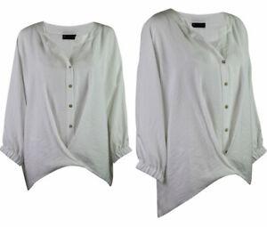 C-amp-A-Premium-Collection-Womens-White-Drape-Notch-Neck-Classic-Blouse-Top-10-22