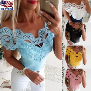 Women-Short-Sleeve-Lace-T-Shirts-Fashion-Ladies-Summer-Casual-Blouse-Tops-Shirt