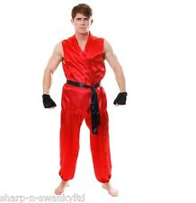 Mens Adult 4Pc Red Martial Arts Karate Fighter Sports Fancy Dress Costume Outfit