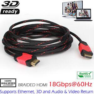 Braided-4K-Long-Short-High-Speed-GOLD-HDMI-Cable-V1-4-w-Nylon-Net-Jacket-Cord-CA