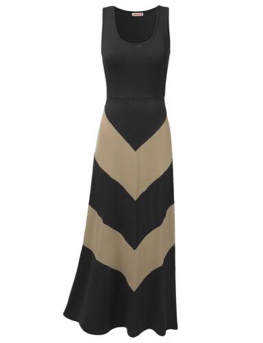 FashionOutfit Women/'s Beach Soft Stretch Sleeveless Bold Chevron Long Maxi Dress