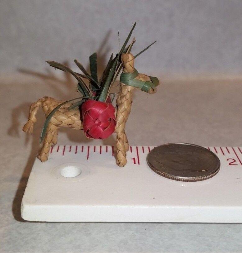 Vintage Antique Miniature Dollhouse TINY Straw Weaved Donkey 1  SCARCE
