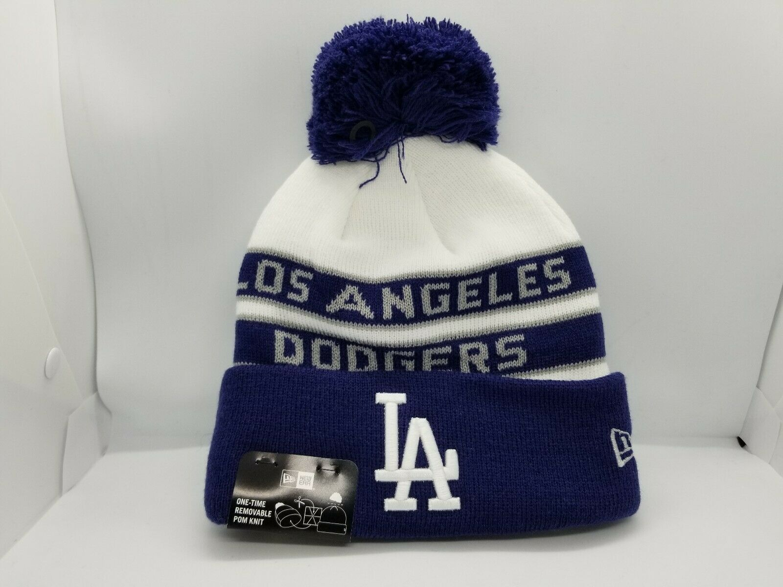 White-blue Dodgers beanie with full gray Los Angeles Dodgers text