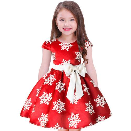 Girls Baby Kids Bow Princess Dress Party Christmas Snowflake Tutu Dresses Xmas