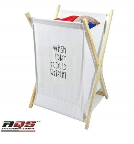 Lightweight Washing Clothes Hamper Laundry Basket Linen Folding Flat Wood Frame