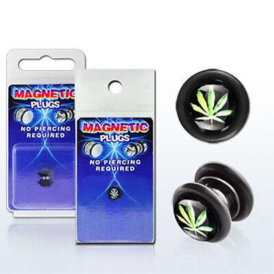 Fake Illusion Fake Piercing Magnetic Leaf Black/Green Ear Pair Ear Gauge Plug US